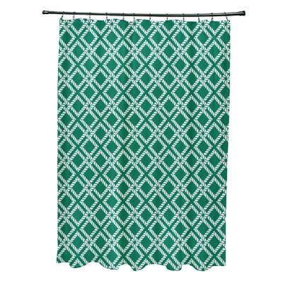 Hancock Rope Rigging Geometric Shower Curtain Color: Green