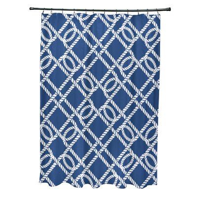 Bridgeport Know the Ropes Geometric Shower Curtain Color: Blue