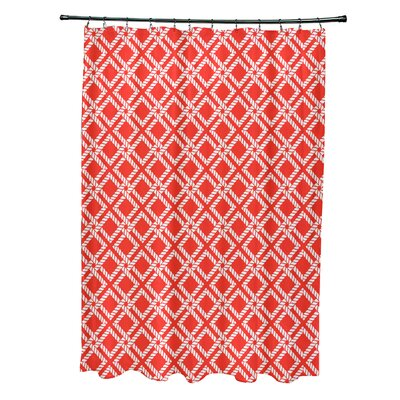 Hancock Rope Rigging Geometric Shower Curtain Color: Red/Orange