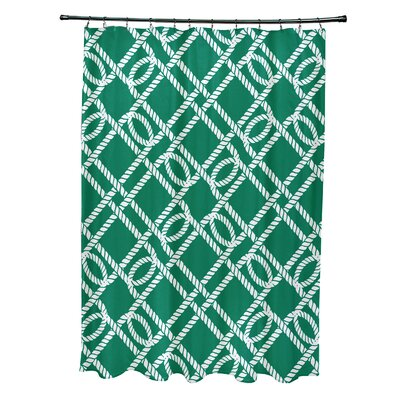 Bridgeport Know the Ropes Geometric Shower Curtain Color: Green