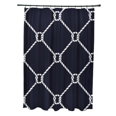 Bridgeport Geometric Mesh Shower Curtain Color: Navy Blue