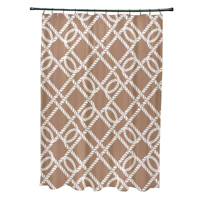 Bridgeport Know the Ropes Geometric Shower Curtain Color: Beige/Taupe