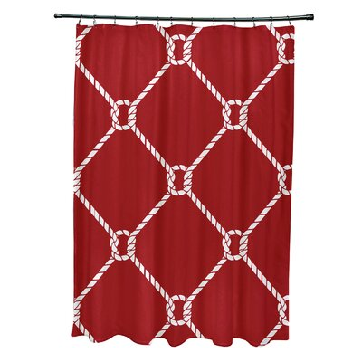Bridgeport Geometric Mesh Shower Curtain Color: Red