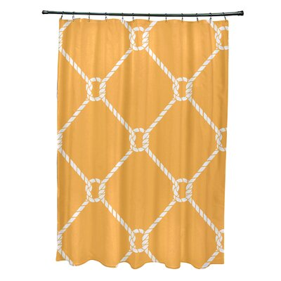 Bridgeport Geometric Mesh Shower Curtain Color: Yellow