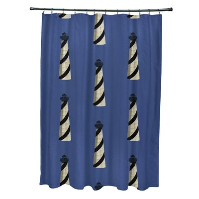 Hancock Beacon Geometric Print Shower Curtain Color: Blue