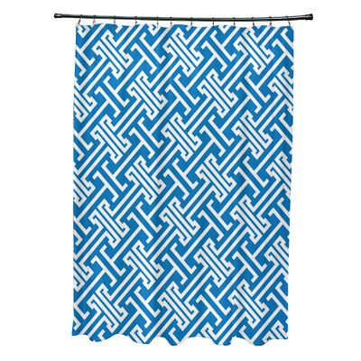 Hancock Leeward Key Geometric Shower Curtain Color: Blue
