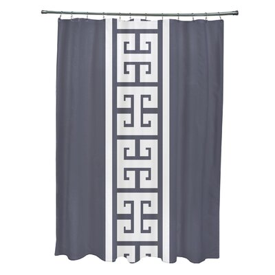 Hancock Polyester Key Stripe Stripe Shower Curtain Color: Navy Blue