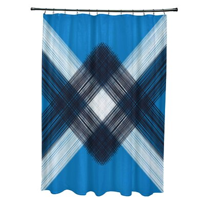 Hancock String Art Geometric Print Shower Curtain Color: Blue