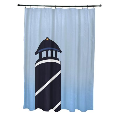 Hancock Safe Harbor Geometric Print Shower Curtain Color: Navy Blue