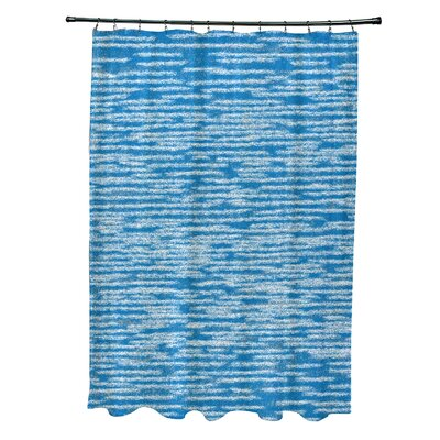 Hancock Marled Knit Geometric Print Shower Curtain Color: Blue