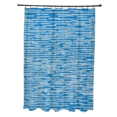 Hancock Marled Knit Geometric Print Shower Curtain Color: Blue