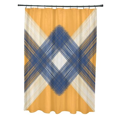 Hancock String Art Geometric Print Shower Curtain Color: Yellow