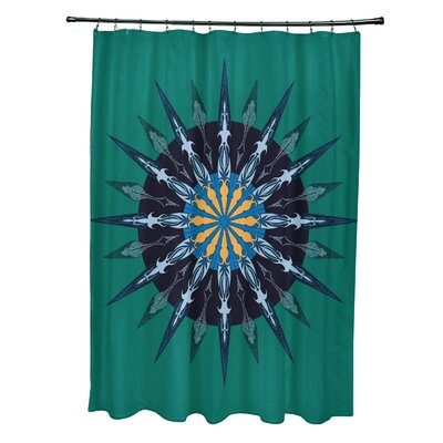 Hancock Sea Wheel Geometric Print Shower Curtain Color: Green
