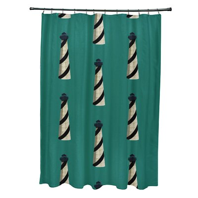 Hancock Beacon Geometric Print Shower Curtain Color: Green