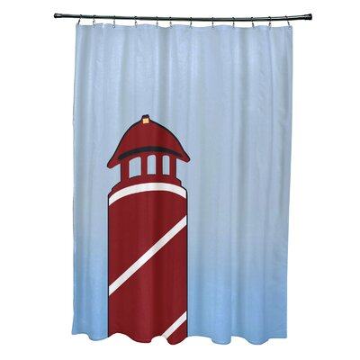 Hancock Safe Harbor Geometric Print Shower Curtain Color: Red