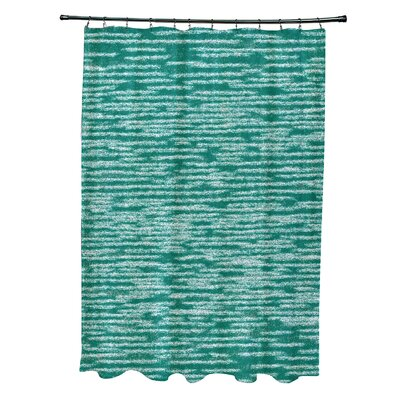 Hancock Marled Knit Geometric Print Shower Curtain Color: Green
