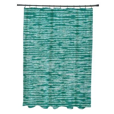 Hancock Marled Knit Geometric Print Shower Curtain Color: Green