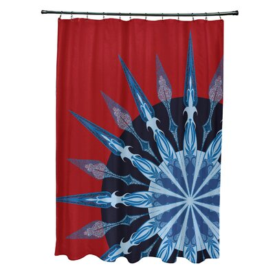 Hancock Sailors Delight Geometric Print Shower Curtain Color: Red