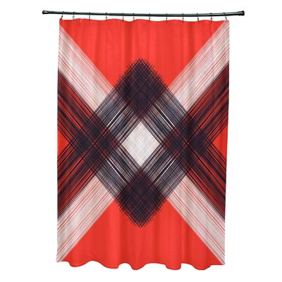Hancock String Art Geometric Print Shower Curtain Color: Orange