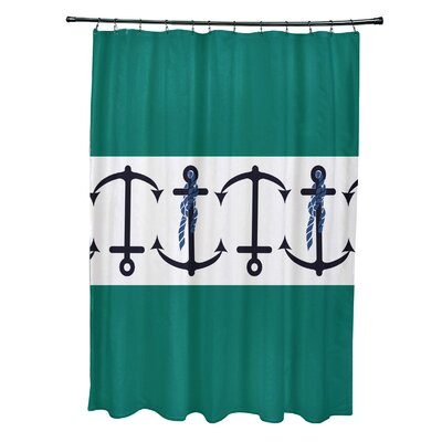 Hancock Anchor Stripe Print Shower Curtain Color: Green