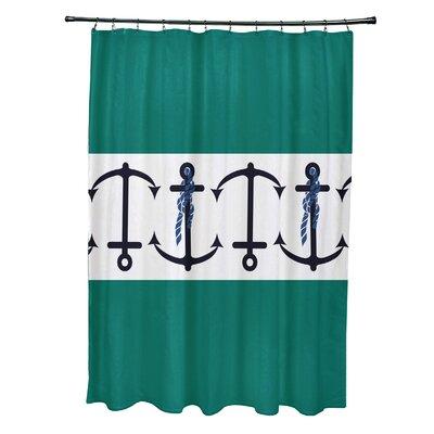 Hancock Anchor Stripe Print Shower Curtain Color: Green