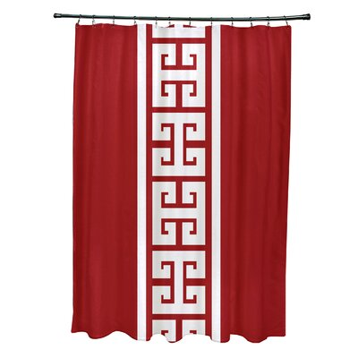 Hancock Polyester Key Stripe Stripe Shower Curtain Color: Red