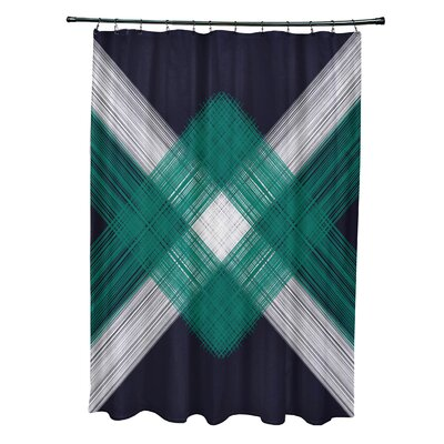 Hancock String Art Geometric Print Shower Curtain Color: Navy Blue
