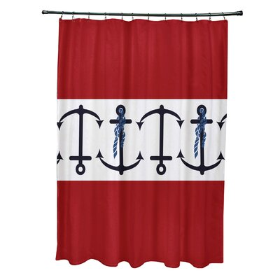 Hancock Anchor Stripe Print Shower Curtain Color: Red