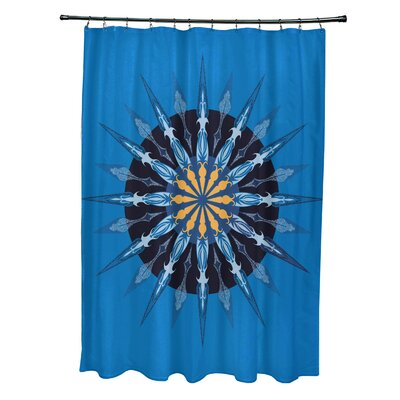 Hancock Sea Wheel Geometric Print Shower Curtain Color: Blue