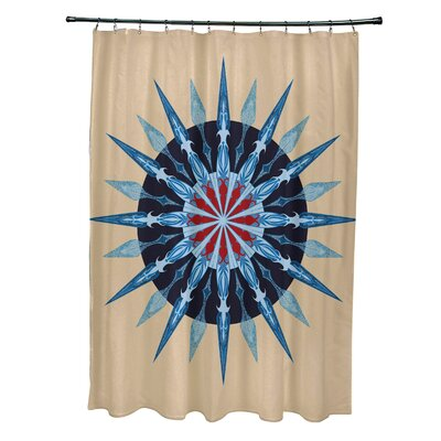 Hancock Sea Wheel Geometric Print Shower Curtain Color: Taupe