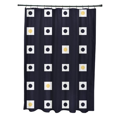 Layton Geometric Shower Curtain Color: Navy Blue/Yellow
