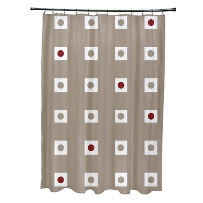 Layton Geometric Shower Curtain Color: Beige/Cardinal Red