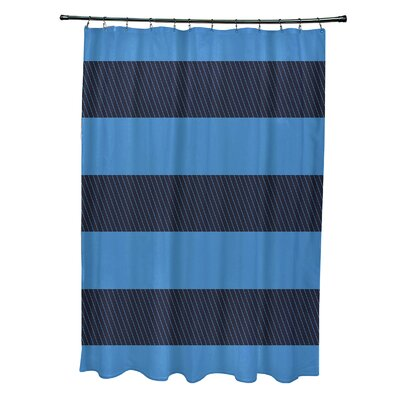 Layton Stripes Shower Curtain Color: Navy Blue/Blue