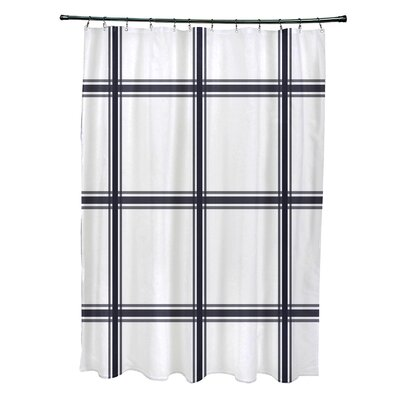 Layton Geometric Shower Curtain Color: Navy Blue