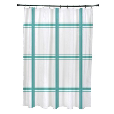 Layton Geometric Shower Curtain Color: Aqua
