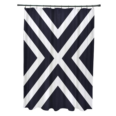 Layton Stripes Shower Curtain Color: Navy Blue