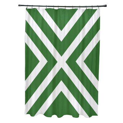 Layton Stripes Shower Curtain Color: Green