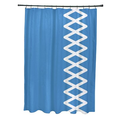 Layton Geometric Shower Curtain Color: Blue