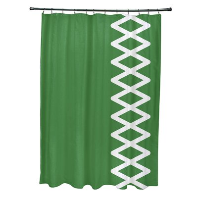 Layton Geometric Shower Curtain Color: Green