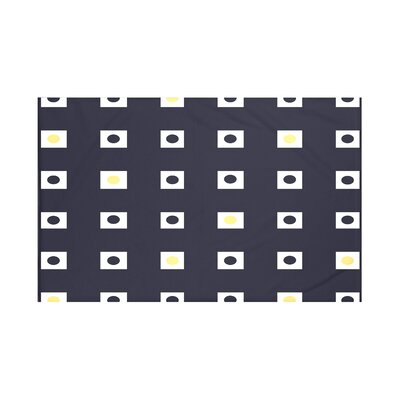 Lambert Geometric Print Throw Blanket Size: 60 L x 50 W, Color: Bewitching (Navy Blue/Yellow)