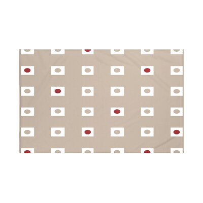 Lambert Geometric Print Throw Blanket Size: 60 L x 50 W, Color: Flax (Taupe/Red)