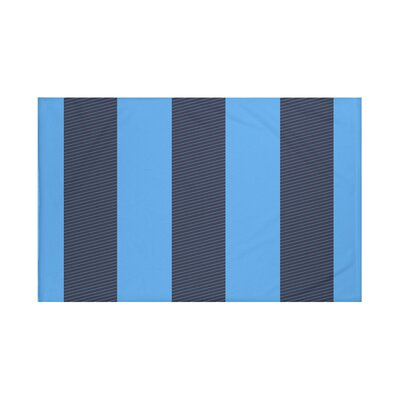 Hibiscus Stripes Print Throw Blanket Size: 60 L x 50 W, Color: Azure (Navy Blue/Blue)