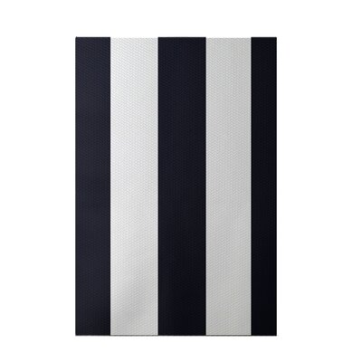 Caymen Stripe Print Navy Blue Indoor/Outdoor Area Rug Rug Size: 5 x 7