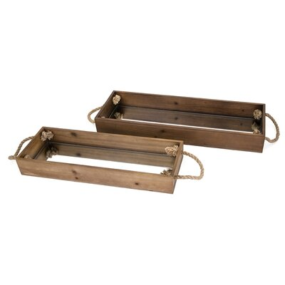 2 Piece Rectangle Brown Wood Decorative Trays