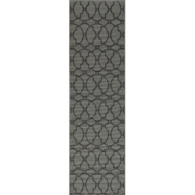 Halliday Charcoal Indoor/Outdoor Area Rug Rug Size: 53 x 76