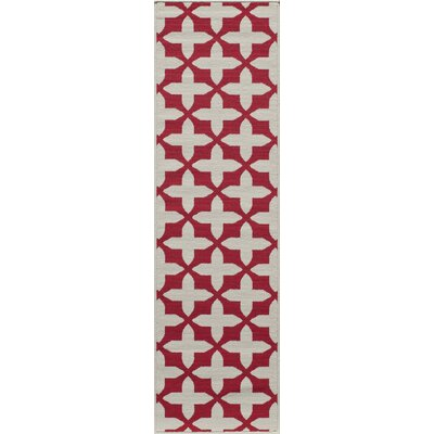 Halliday Red/Tan Indoor/Outdoor Area Rug Rug Size: Runner 23 x 76