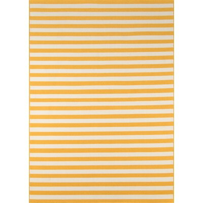 Halliday Yellow/White Indoor/Outdoor Area Rug Rug Size: Rectangle 53 x 76