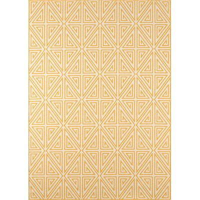 Halliday Yellow/White Outdoor Area Rug Rug Size: 18 x 37