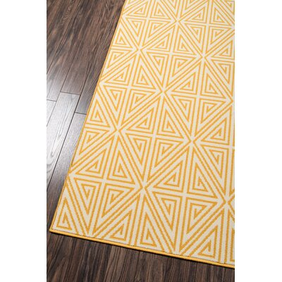Halliday Yellow/White Outdoor Area Rug Rug Size: Runner 23 x 76