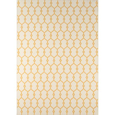Halliday Yellow/Beige Indoor/Outdoor Area Rug Rug Size: Rectangle 53 x 76
